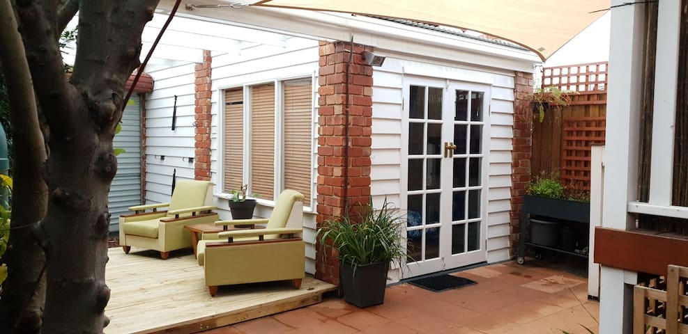 Private detached studio with deck and kitchenette