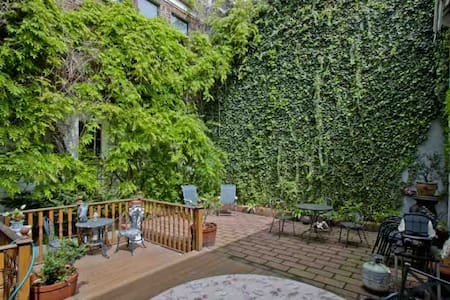 Just blocks away from central park, this duplex apartment is centrally locate, has lots of space, and a wonderful garden. With quiet gardens, close to several subway lines, it is a great apartment for families that need space.