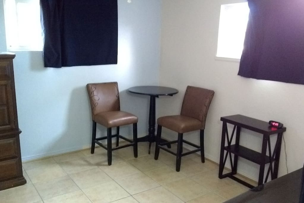 Table and chairs available.