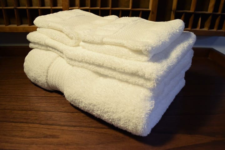 Ample supply of plush Ralph Lauren towels and face cloths.