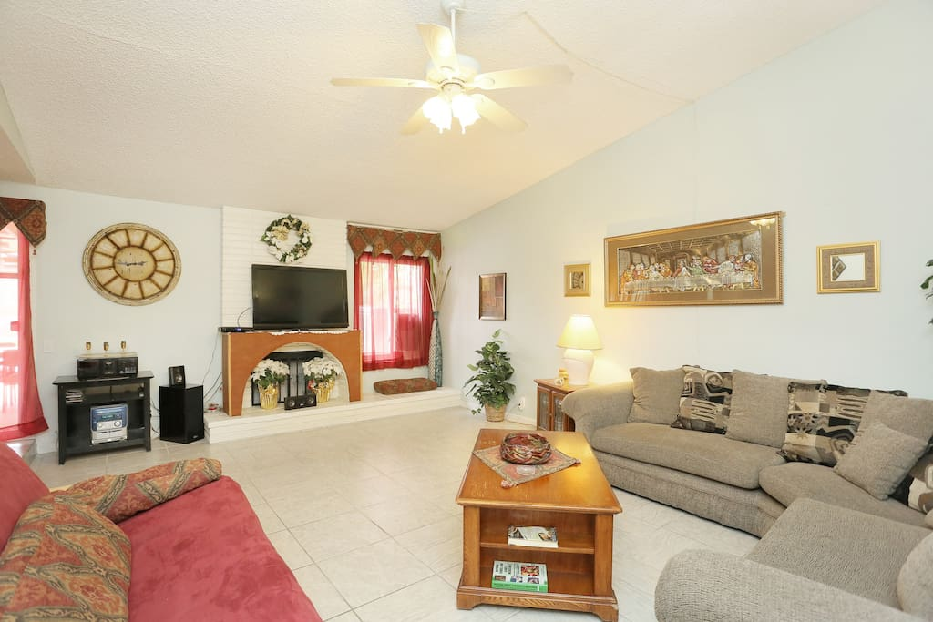 Living room with gas fireplace.l