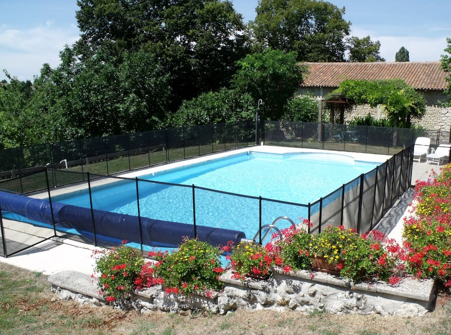 Pool (12 x 6 metres,  from 1 - 2 metres deep) with solar shower