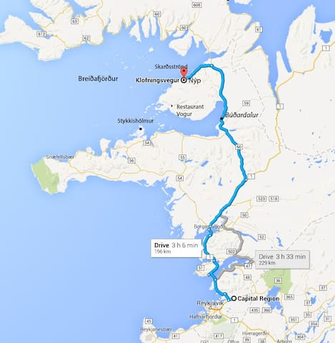 Easy to reach from Reykjavik, about 2,5 - 3 hours drive, beautiful landscapes on the way