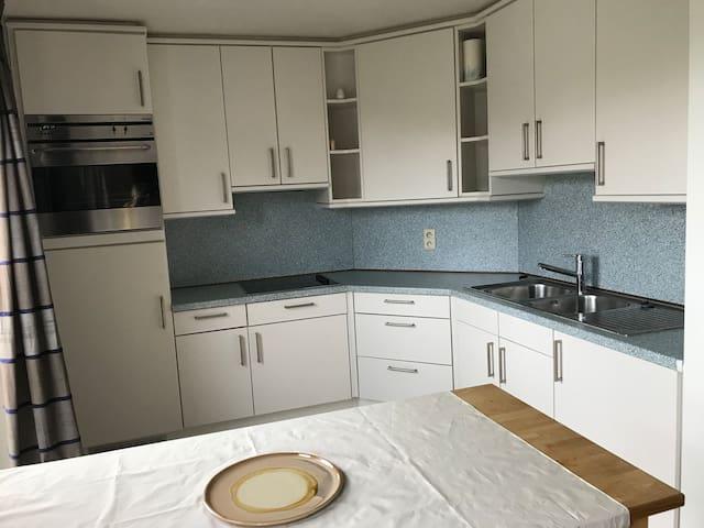 De keuken met alle benodigdheden: ijskast, oven, electrisch kookfornuis, dampkap, microgolfoven...