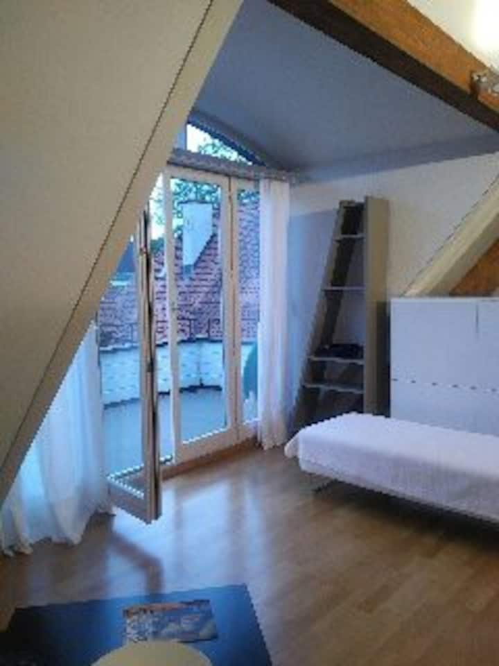 1 BR top floor flat with terrace close to lake