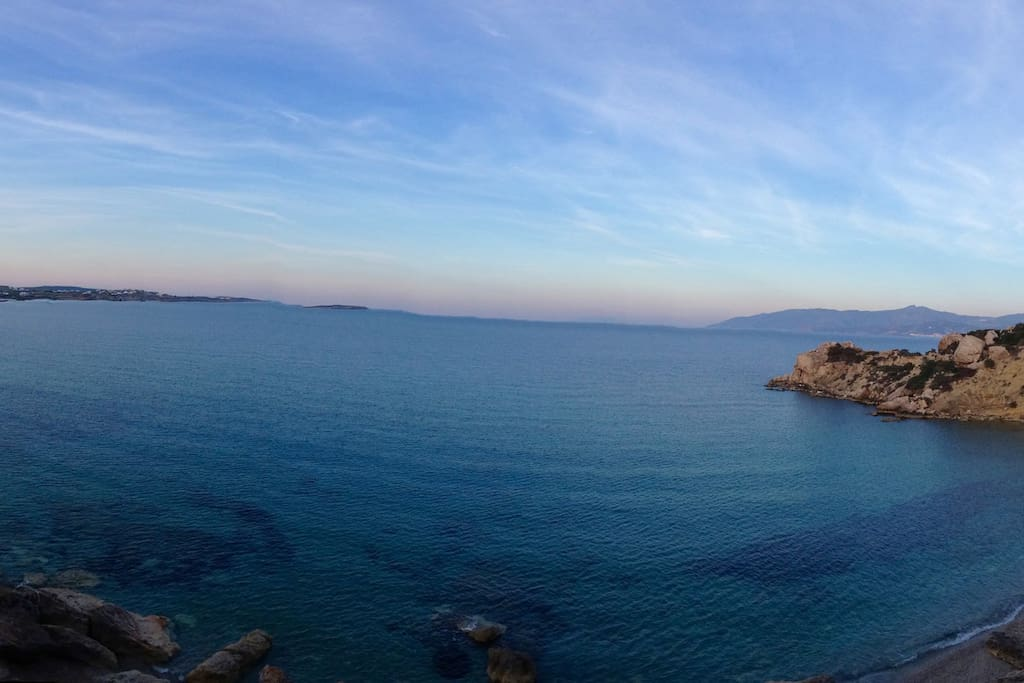 This is a panoramic  view of one of the nearby Paros beaches