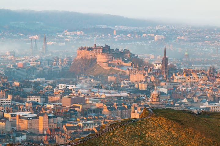 Amazing walks view of Edinburgh from the Crags and Arthur's seat just 15 minute walk from the flat