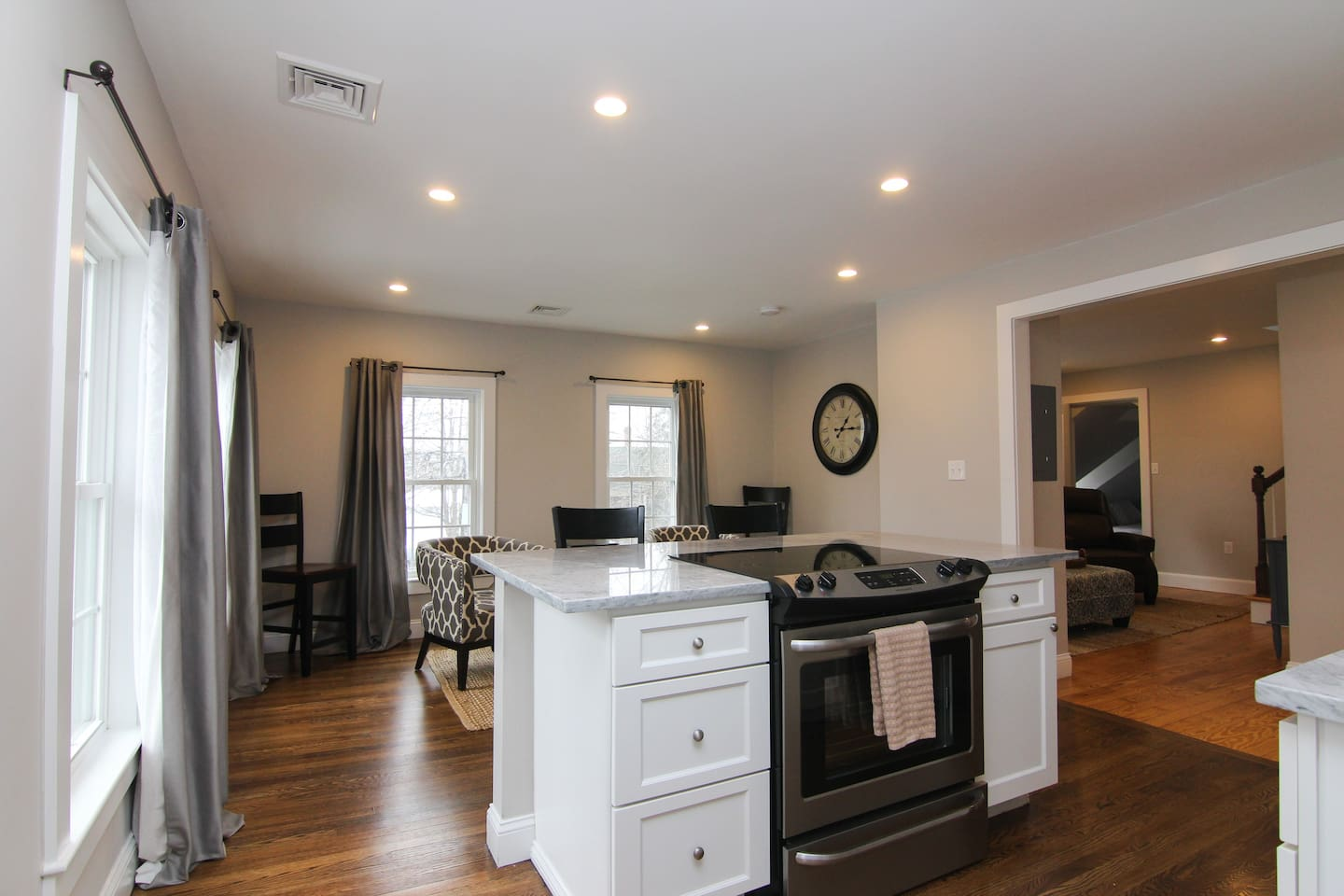 Open kitchen area with a view.