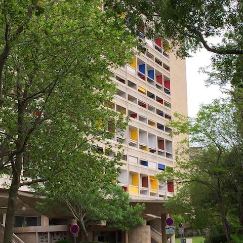 Studio 36m2 Le Corbusier, vue mer.