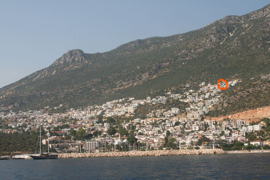 Position of villa above Old Kalkan ( red circle)