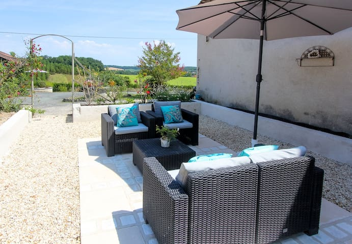 The terrace and pool area
