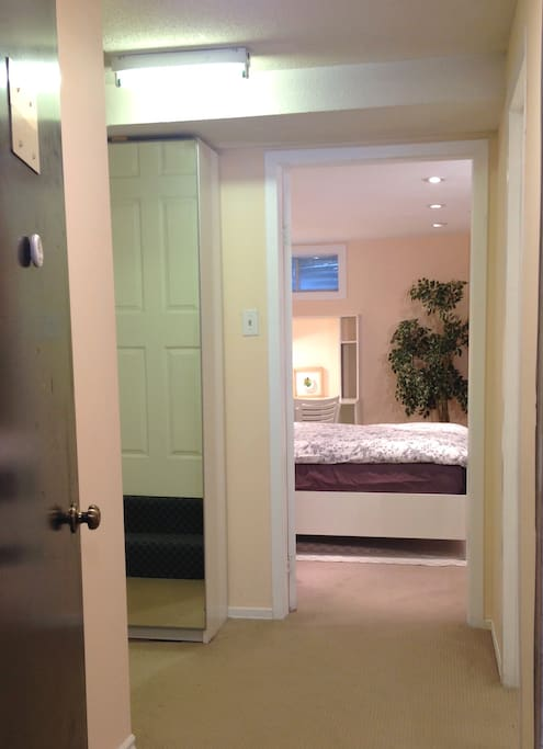 View from separate private entrance (mirror closet with small foyer to the left)