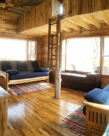 Two fold-out, full-sized futons on the main floor; two full-sized mattresses on the floor of the loft.