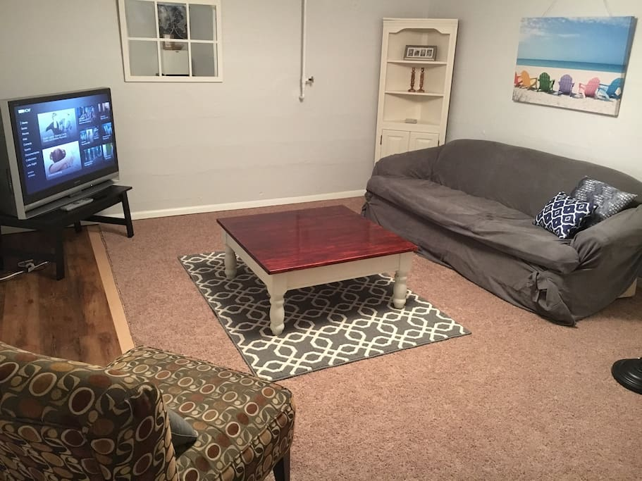 Separate living area is spacious and homey.