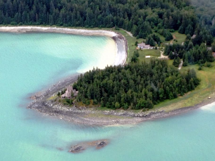 Aerial view of the Viking Cove property.  Bear Cabin is tucked in the trees to the right of the point.