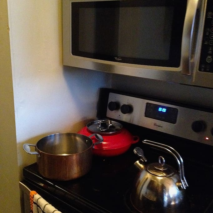 copper pots, stainless steel appliances