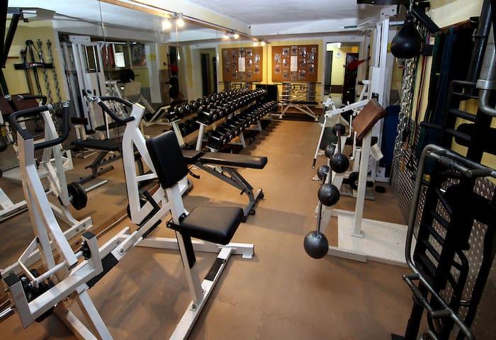 Rustikales Fitnessstudio mit sehr viel Eisen