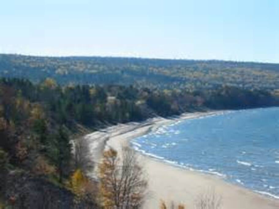 Eagle Harbor is surrounded by sandy beaches as well as rocky picturesque coastline.  Keweenaw Peninsula.