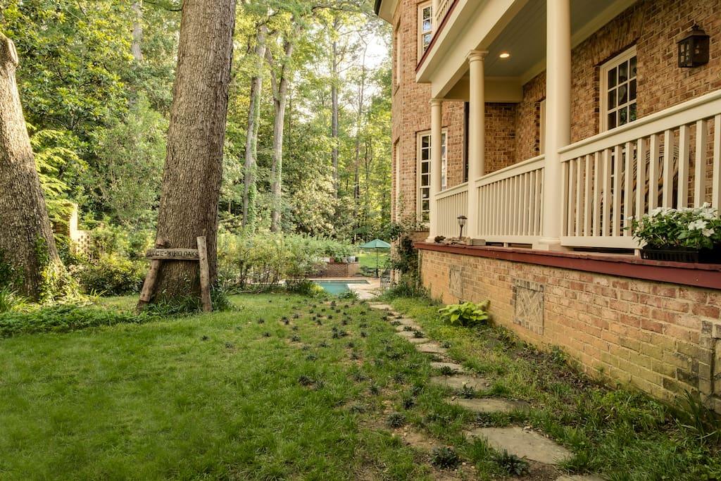 Enter main door to garden w solar lighting