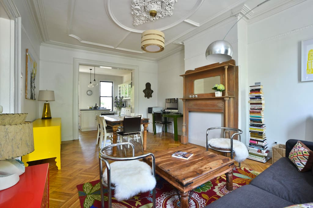 Bright & Airy open plan: living room, dining room & kitchen. Great space to gather for dinner, drinks or just hanging out.