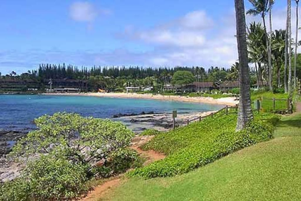 View of Napili Bay, a 5 minute stroll along the beach path