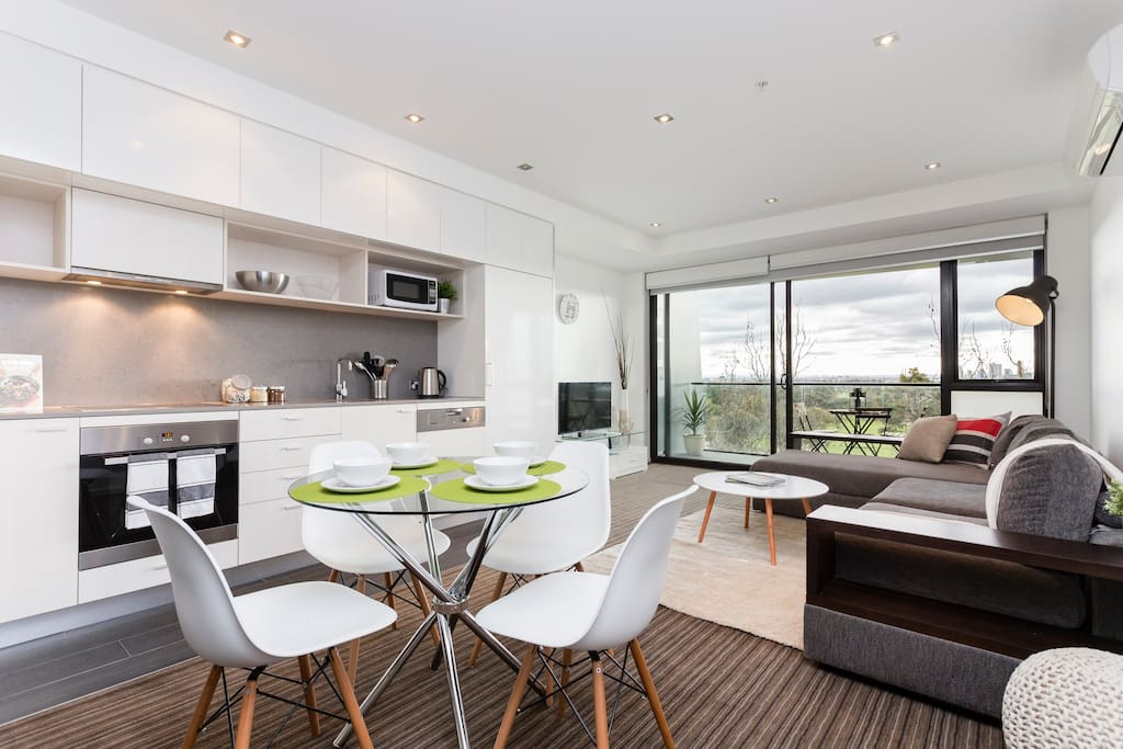 Designer style open plan living with the most Amazing view in St Kilda