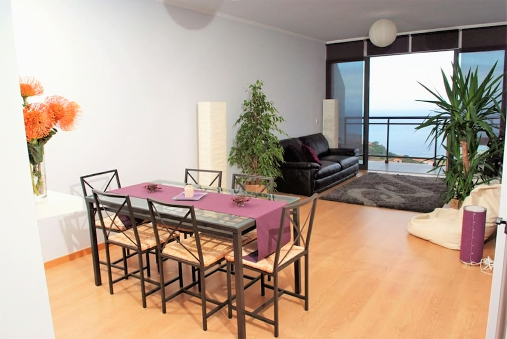 Dining table, Living Room and Balcony