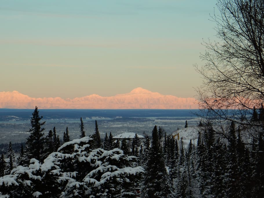 "View of Denali (""The Great One"") to the north. Mt. Foraker is in the very left of the photo and Mt. Hunter is between them."