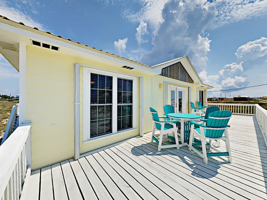 The spacious deck offers seating for your group.