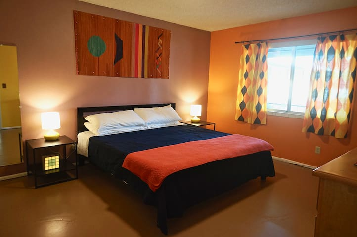 Newly remodeled bedroom with hypoallergenic concrete flooring