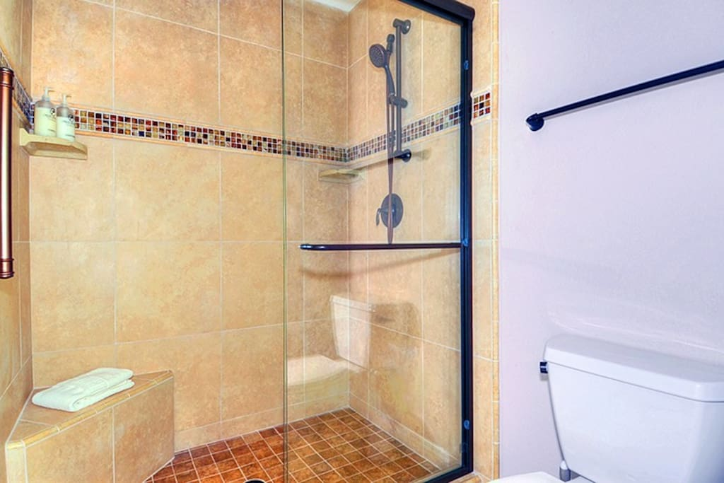 Beautiful, oversized shower with island soaps, shampoo, and conditioner