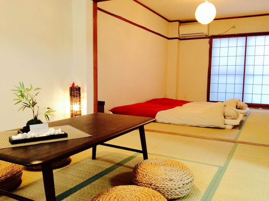 2 Japanese rooms;living room,bed room