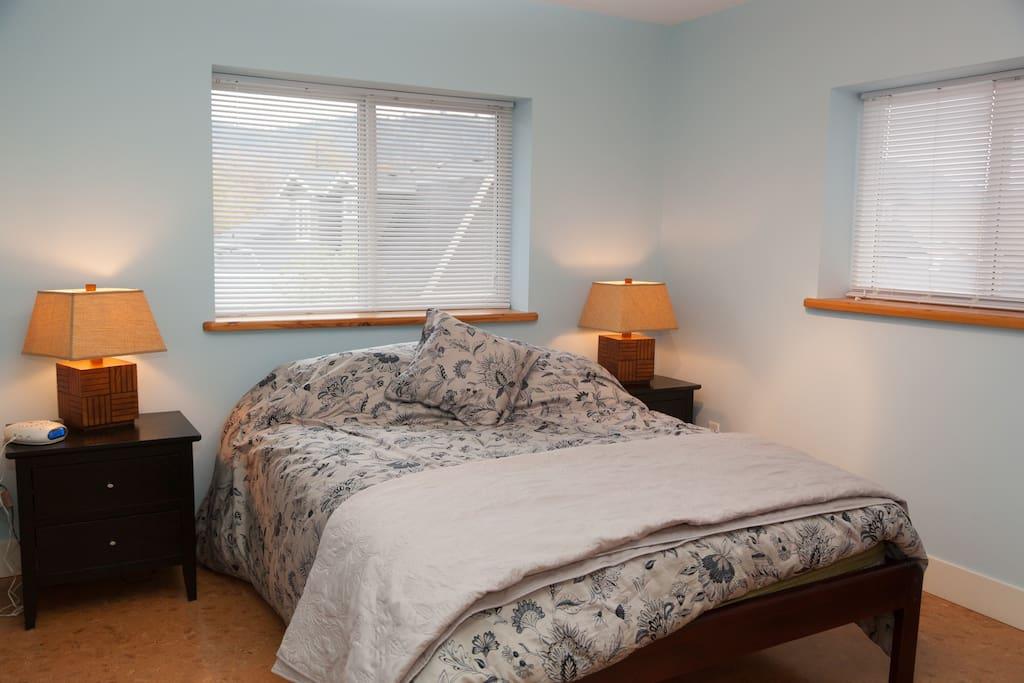 Queen bed. Walk in closet not pictured.