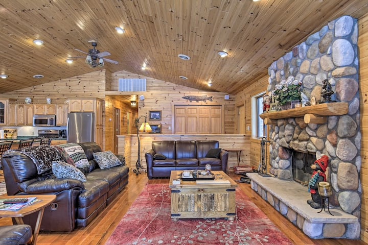 Waterfront Pike Lake Retreat: Snowmobile Paradise