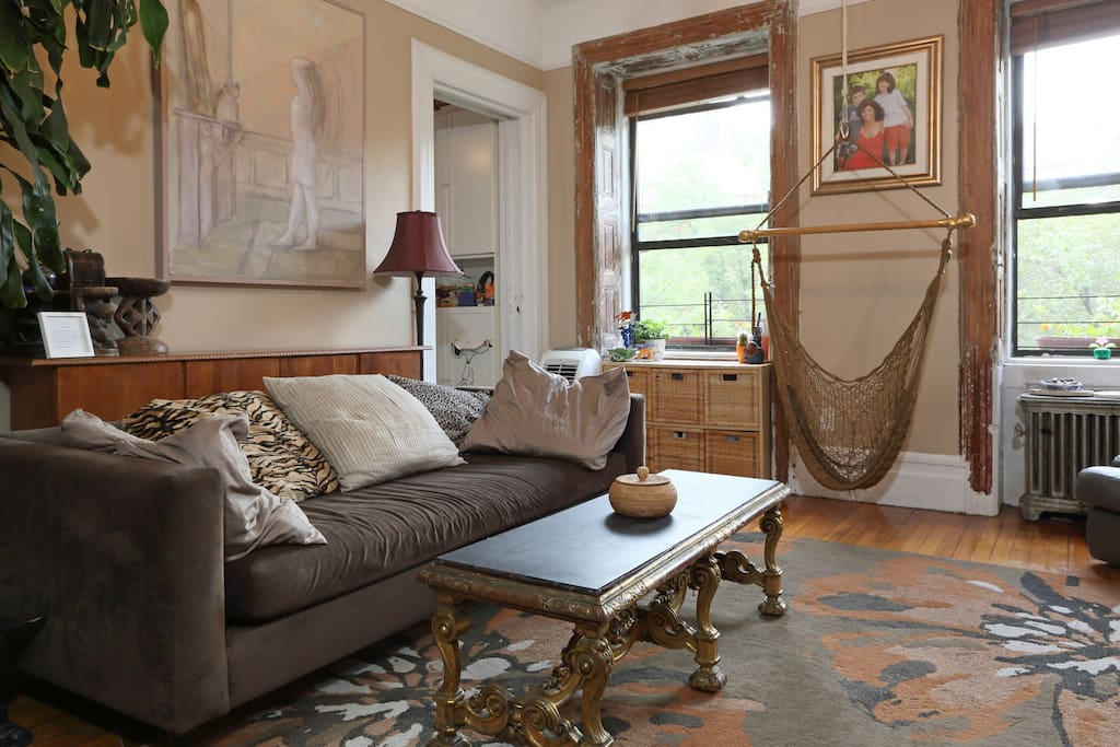 The couch is the size of a single bed and is very comfortable for additional guests.