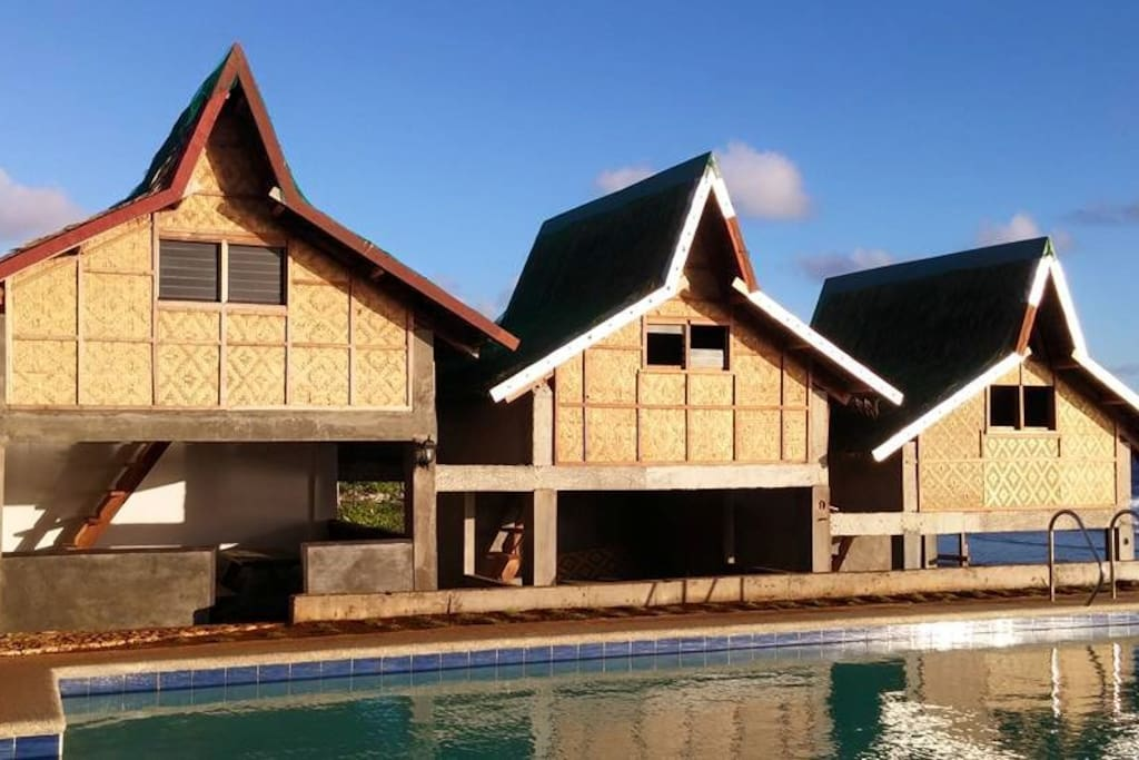 Surf huts and pool