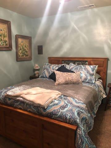 Queen bed in bedroom 1, Room darkening curtains.