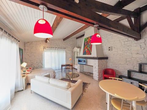 Grand studio avec charme au pied de Château-Chalon