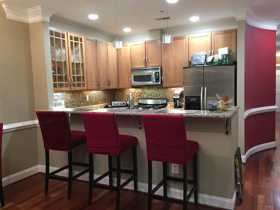 Open kitchen with breakfast bar