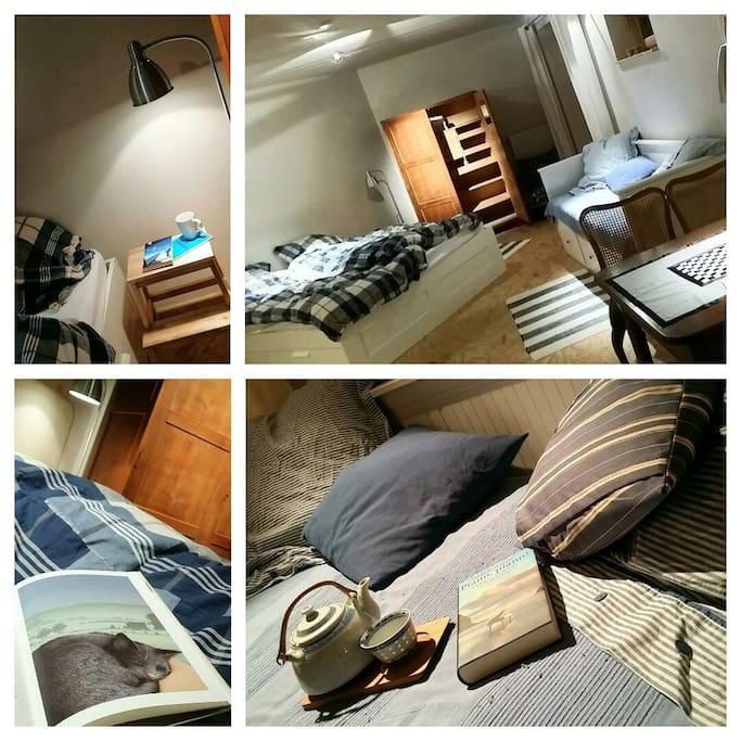 Hell und freundlich, kuschelig, viel Lesestoff und ein separates Schlafsofa/ Tagesbett.