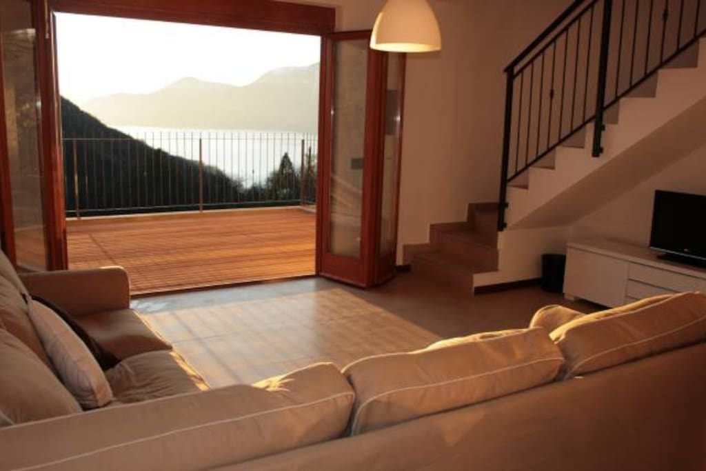 Living area with doors to terrace