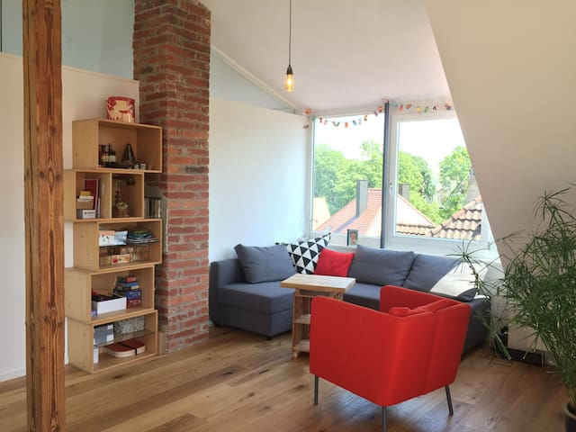 Bright attic appartment with balcony, central