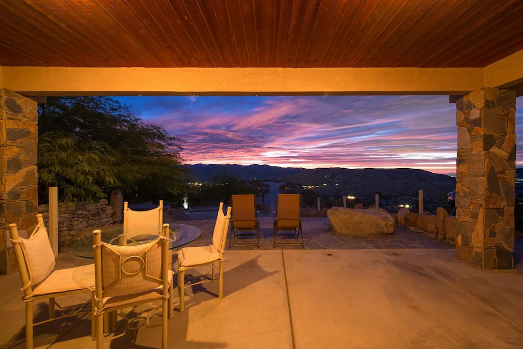 the sunrises and sunsets are fantastic from this Hilltop Spa home.
