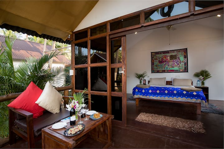 Luxury AC sea view huts with beachfront yoga shala