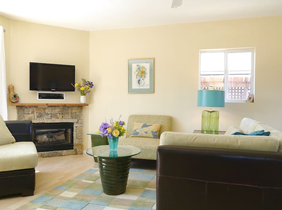 Living area with seating for four, fireplace with heater blower, HDTV with dvd player.  Additional heating, and air conditioner added in 2016.