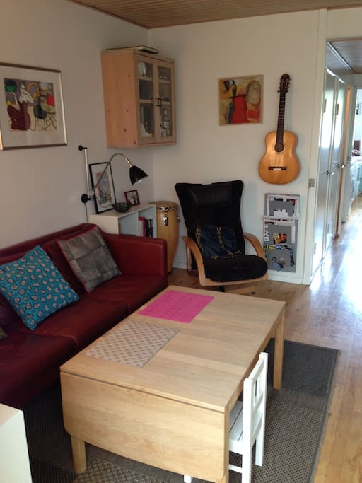 hyggekrog m. lædersofa og tv stol
