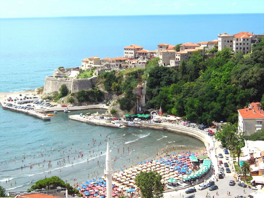 View at the sea, small beach and Old Town from our terrace