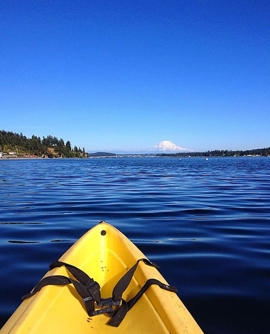 Enjoy a peaceful kayak ride with Mount Rainier in the distance
