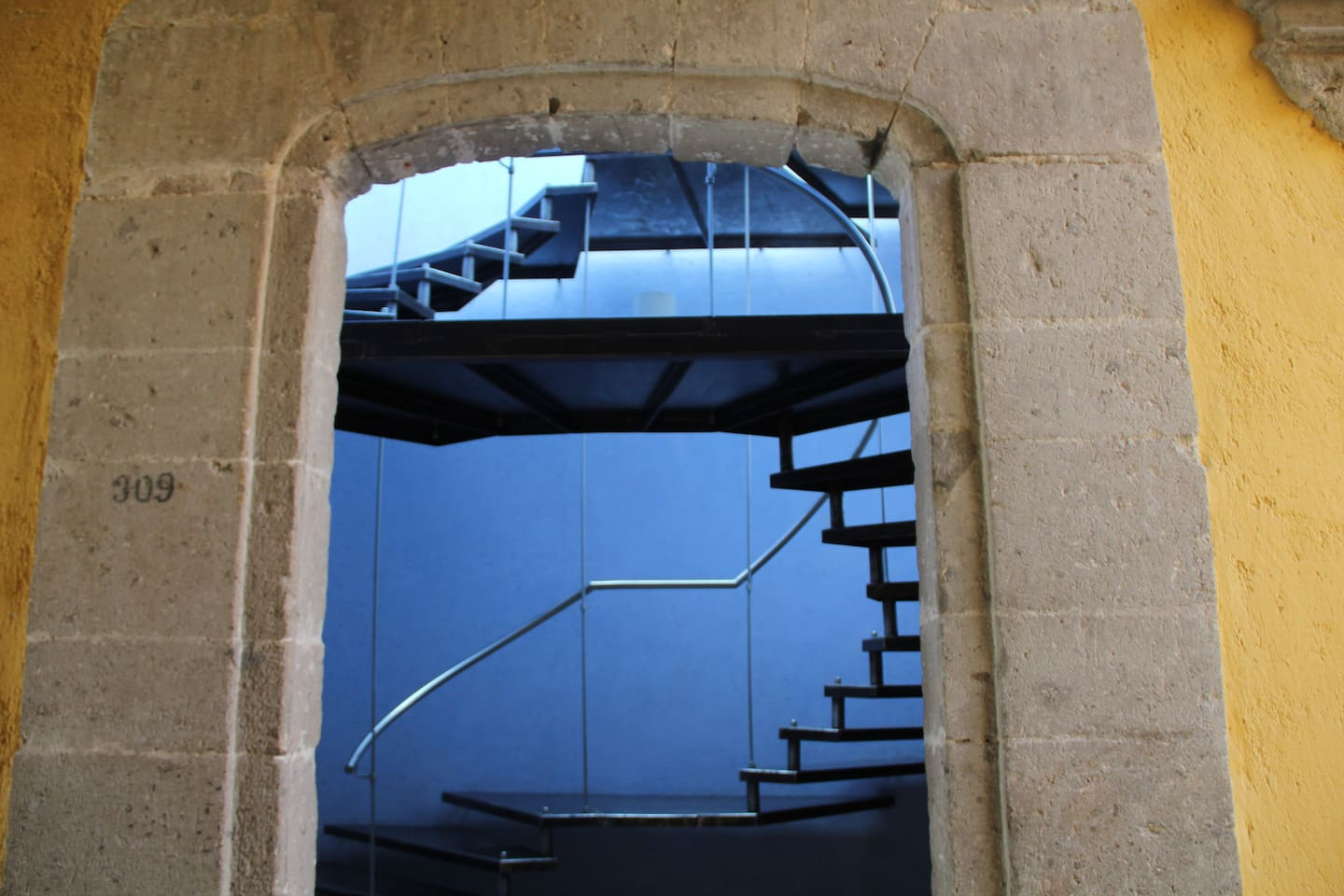 Modern staircase to Tower