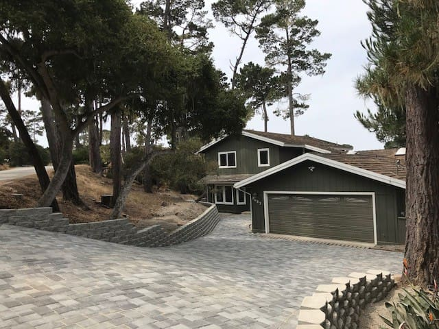 Broad driveway with additional outdoor parking